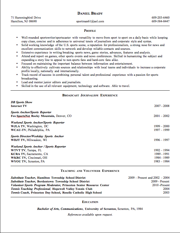 Professional highlights in resume